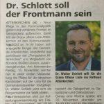 """Forum Pressemitteilung 09.11.19: """"Dr. Schlott soll der Frontmann sein"""""""