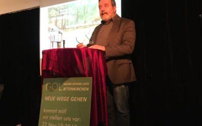 Am Freitag, den 22.11.2019, fand die politische Auftaktveranstaltung   unserer Gruppierung im BachfeldHaus statt. Unser lieber Freund Dr. Christian Magerl hielt zu Beginn eine flammende Rede über Umwelt- und   Klimaschutz in kleinen Gemeinden.